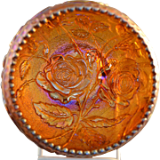 "Vintage Imperial Luster Rose Carnival Glass Rose Bowl in Amber measuring approximately 5"" across and 3 1/4"" high with Paneled Rose exterior"