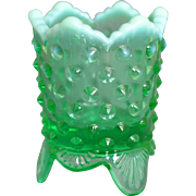 Fenton Green Opalescent Footed Hobnail Toothpick Holder, circa 1972 - 1979