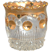 """Vintage US Glass Company Manhattan Toothpick Holder Clear w/Gold decor, circa 1898-1910 measuring approximately 2 3/8"""" tall"""