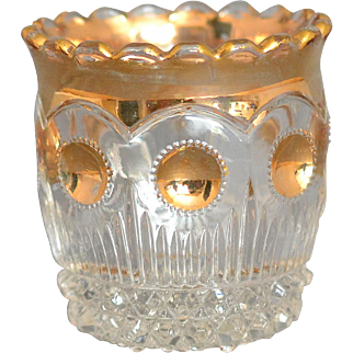 "Vintage US Glass Company Manhattan Toothpick Holder Clear w/Gold decor, circa 1898-1910 measuring approximately 2 3/8"" tall"