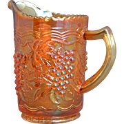 "Imperial Grape Marigold Carnival Glass Milk Pitcher measuring 6"" tall at highest point and approximately 4"" across, Circa 1951-1972"