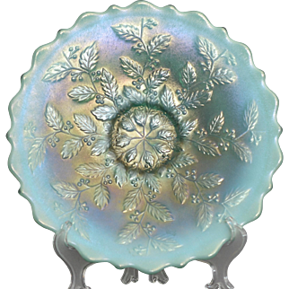"Fenton Carnival Glass Aqua Opal Plate in the Holly Patern measuring approximately 9"" across x 1 1/2"" tall"