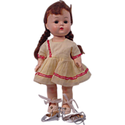 Hard Plastic Walker Doll with Pigtails