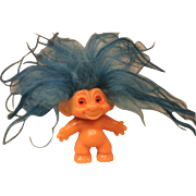 Vintage Troll with Blue Hair and Spiral Eyes