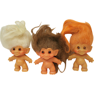 Thomas Dam Trolls C 64 Lot of Three Orange Brown and White hair trolls