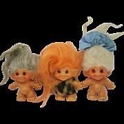 Thomas Dam Trolls Lot of Three Gray White and Orange Color Hair