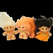 Thomas Dam Trolls Lot of three with White Black and Orange Hair