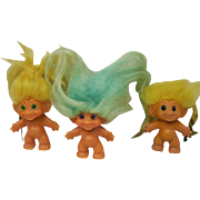 Vintage trolls with Spiral Eyes Lot of Three