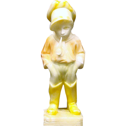 Antique Alabaster Standing Boy with Pipe Figurine
