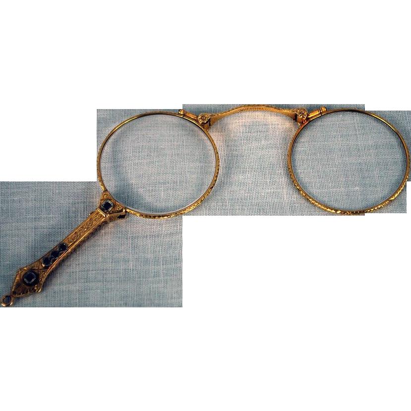 Victorian Chadco Lorgnette 10kt Gold Opera Glasses