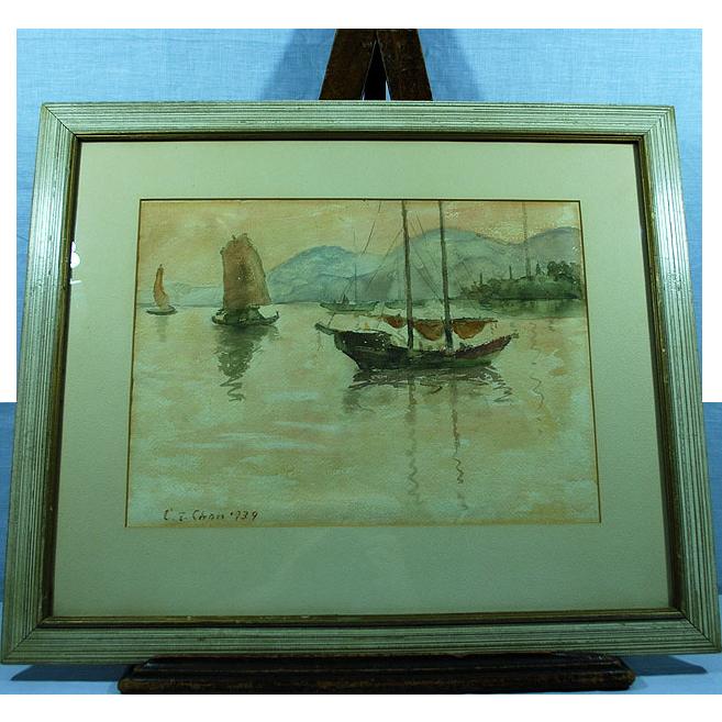 Chinese painting Chen Fushan Chan 1905-1995 Fishermen