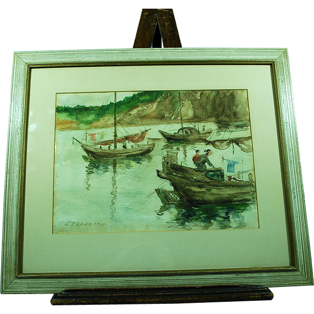 Chinese painting Chen Fushan Chan 1905-1995 boats with fishermen (n.2)