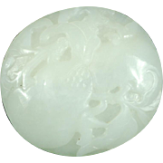 18th Century Qing dynasty nephrite white jade plaque with peaches