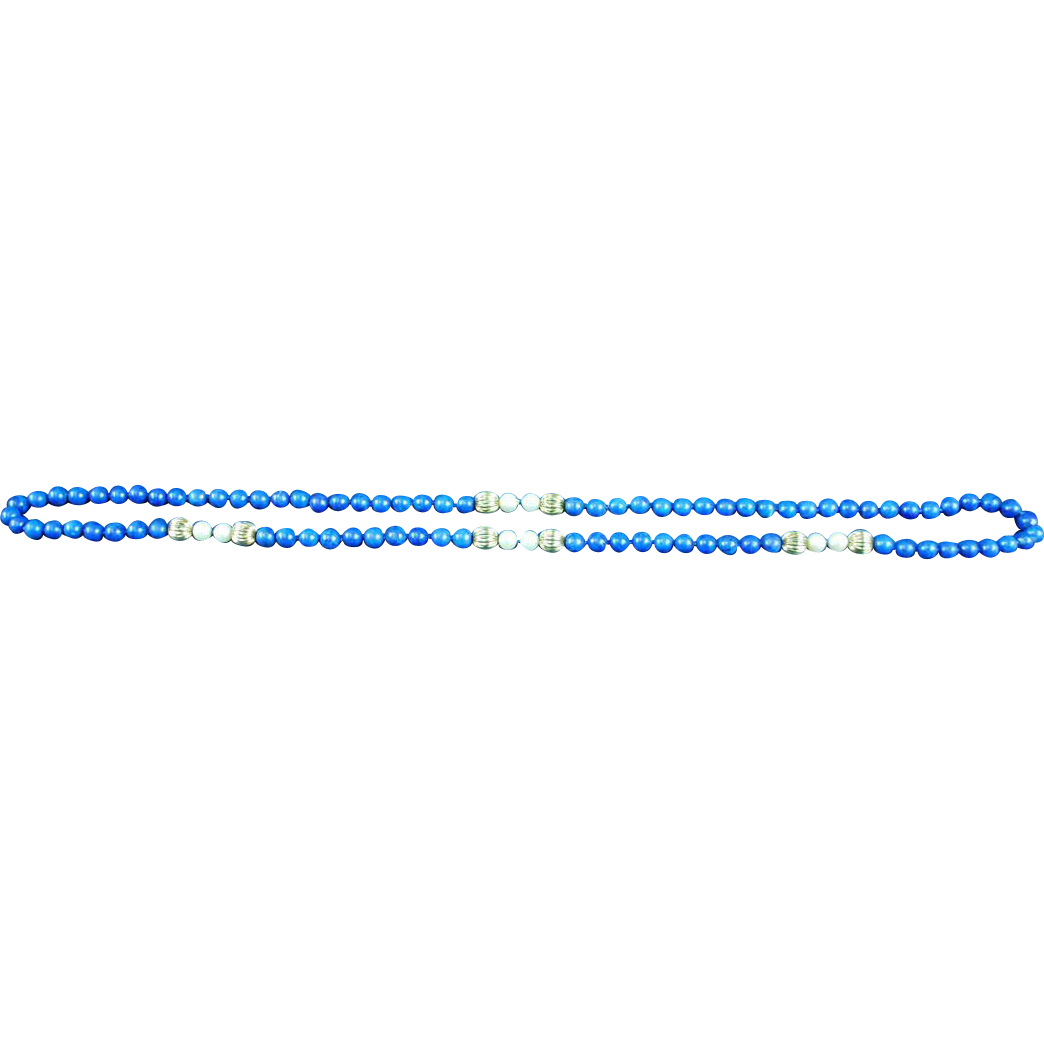 """Vintage Natural Chinese Lapis Lazuli 34"""" Pearl Necklace"""