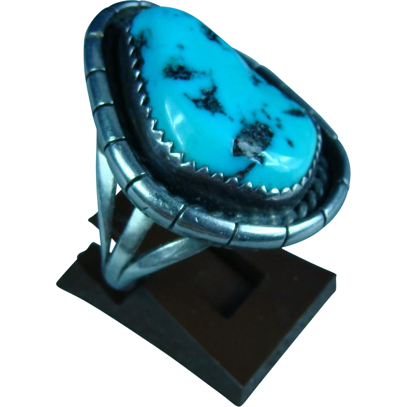 Navajo Native American Ben Yazzie Sterling Silver and Turquoise Ring
