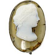 Gorgeous 18th c. oval agate high relief cameo of Bacchuse pin brooch