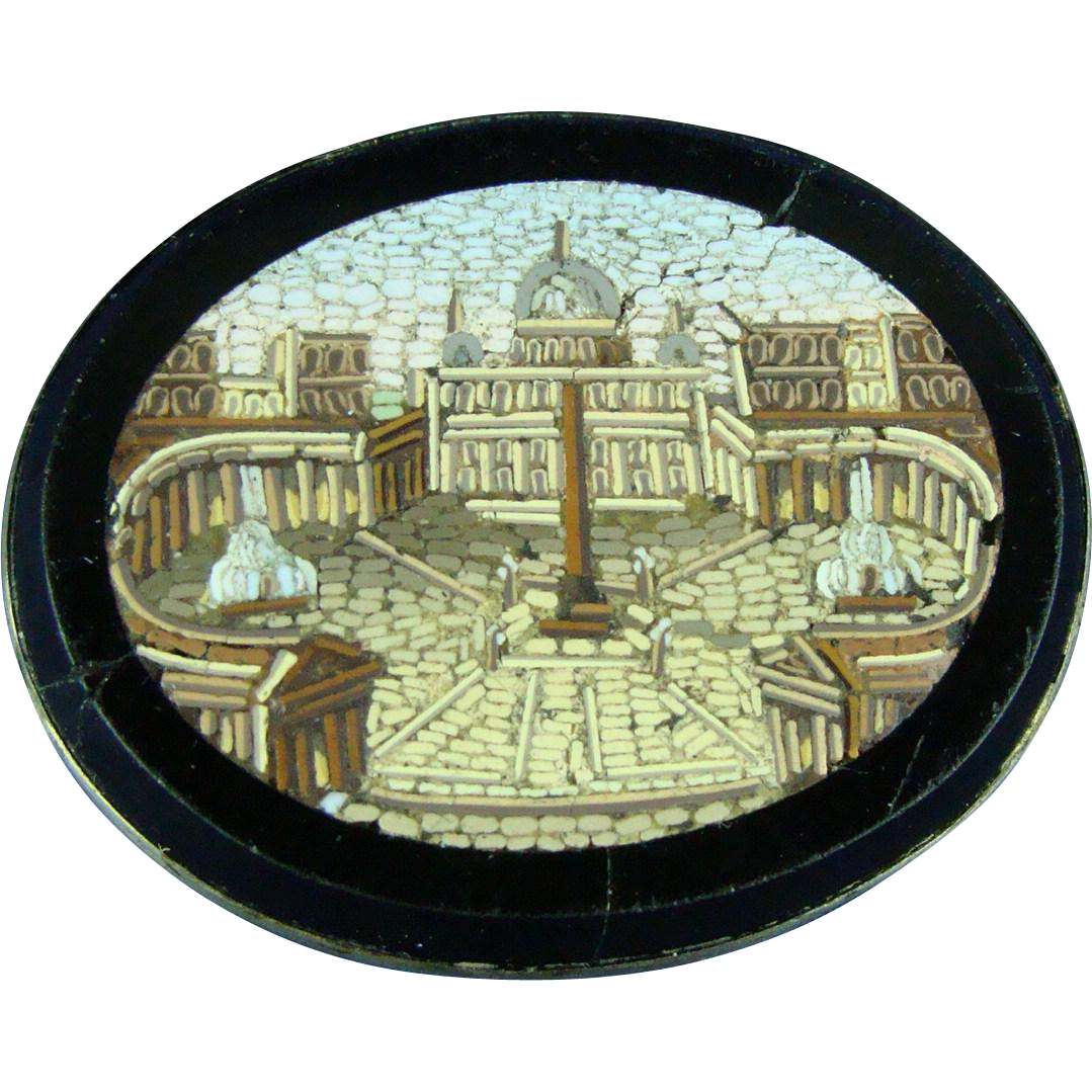 Fine Victorian silver mounted micro mosaic brooch of Saint Peter's Square in Rome