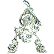 Victorian sterling silver pendant with authentic rosette diamonds