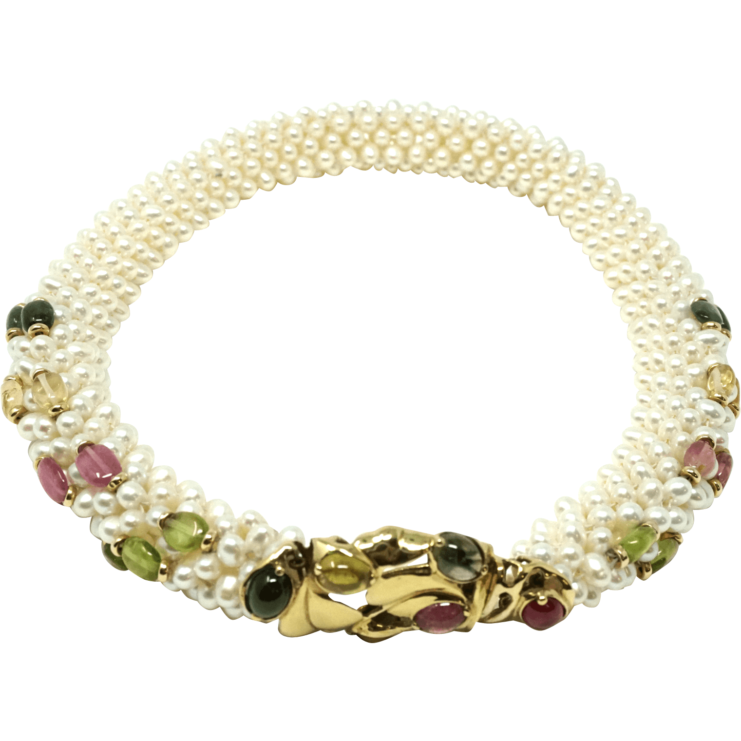 Vintage multi strand natural pearl 14k and tourmaline stone necklace