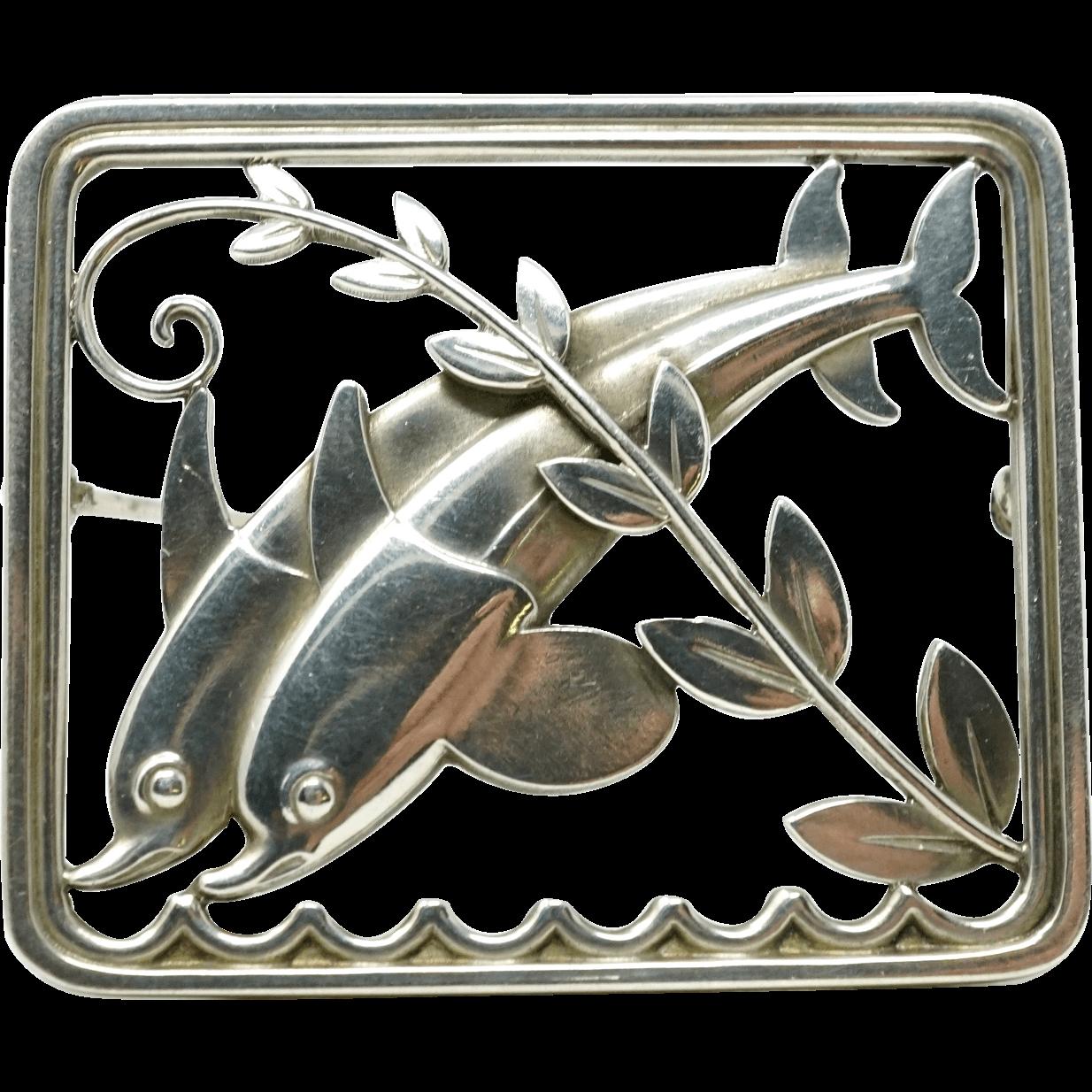Georg Jensen Arno Malinowski Sterling Silver Dolphin Brooch