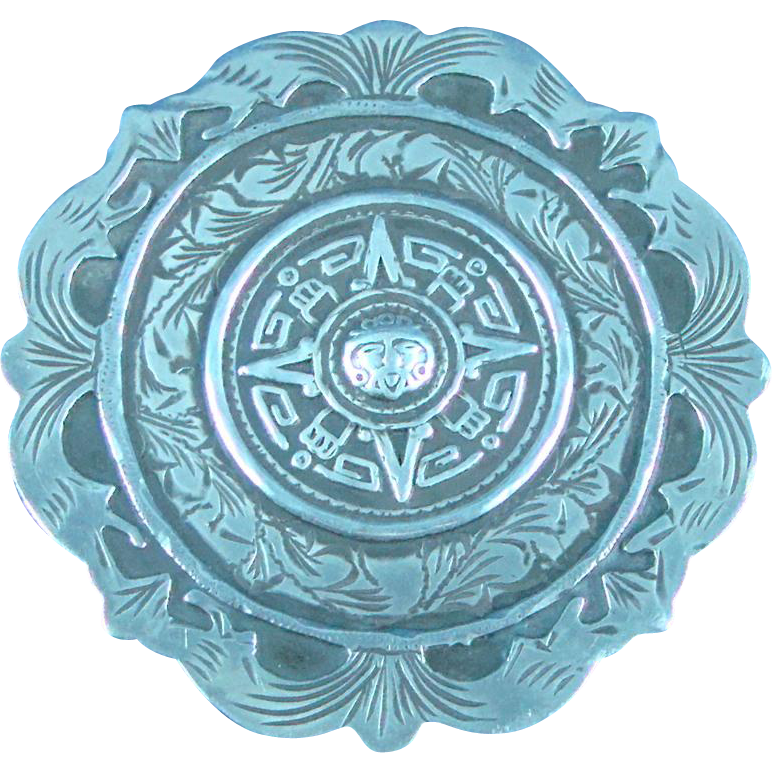 Sterling Silver Mexico hand made large medallion