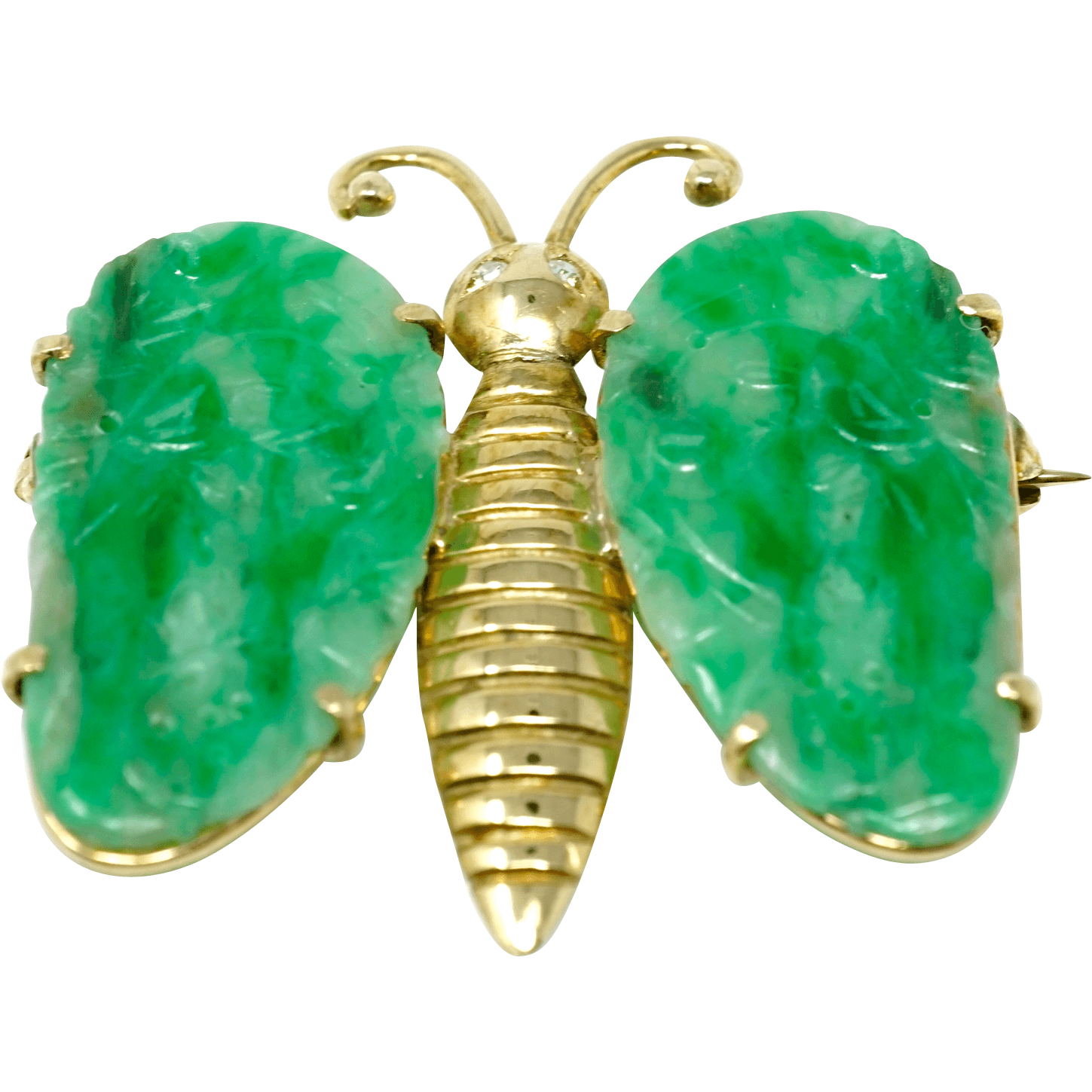 Antique Chinese Ladies Butterfly 14k Gold Diamond Jadeite COA
