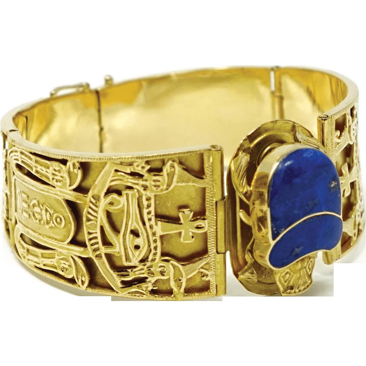 Vintage Egyptian Revival 18k Gold Lapis Lazuli Scarab Bracelet