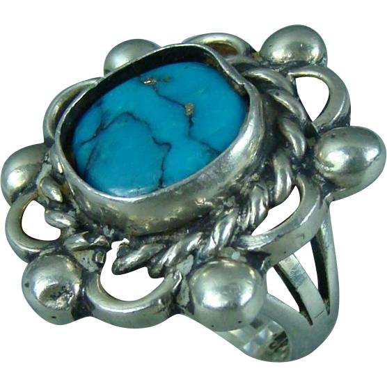 Sterling Silver Turquoise Mexico Ladies Ring Size 7.5