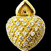 Fine heart design 18k gold pendant with 2.5c diamonds
