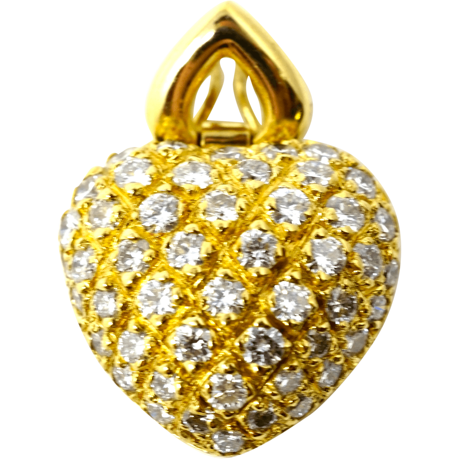 Fine heart design 18k gold pendant with 2.5c diamonds