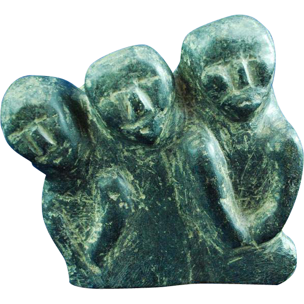 Inuit eskimo soapstone carving primitive group of faces