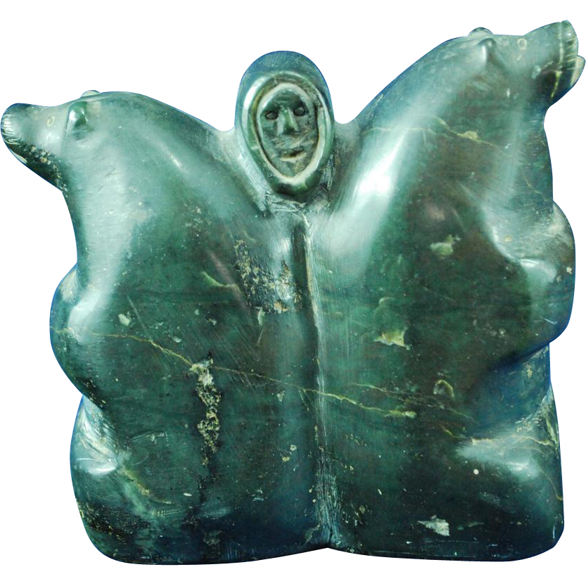 Inuit eskimo soapstone sculpture two bears and man head 1950 60