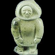 Large Inuit Eskimo serpentine sculpture of standing man signed