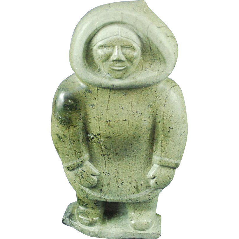 Large Inuit Eskimo serpentine sculpture of standing man signed