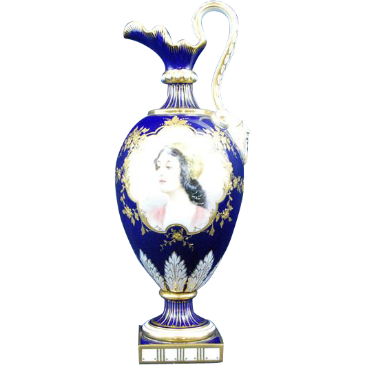 Minton Hand painted gilded vase blue cobalt girl portrait signed