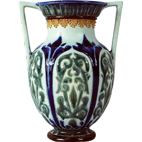 Doulton Lambeth Double Handled 1879 Signed Vase