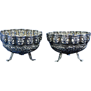 Antique pair of Asian sterling silver footed bowl circa 1900