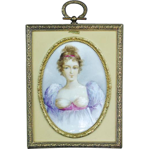 "Antique Porcelain Miniature Bronze Frame Painting ""Mille Lange"""