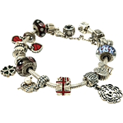 Sterling silver original Pandora bracelet with 18 charms