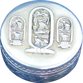 Sterling silver pill box Egyptian Simbols inscription