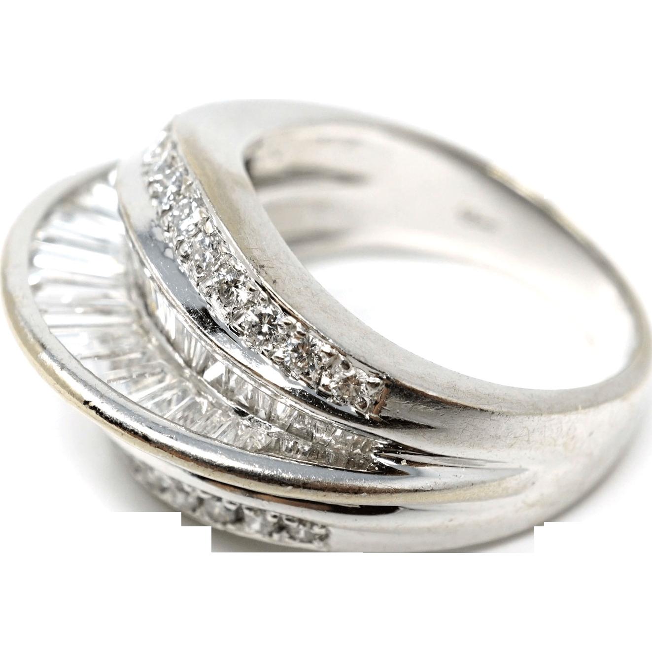 Vintage Estate 18 k white gold diamond Ring 2.3 carat with COA size 6.5