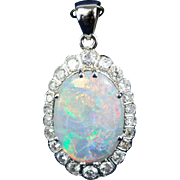 Vintage 14 k White gold pendant natural opal cabochon and diamonds