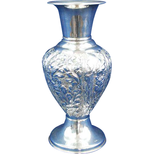 Large Egyptian sterling silver flowers embossed vase 360 gr