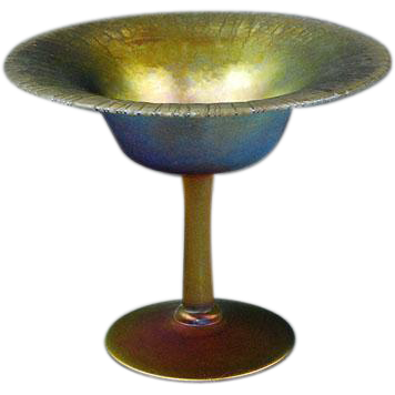 LCT Tiffany Gold Favrile onionskin stretch glass compote signed