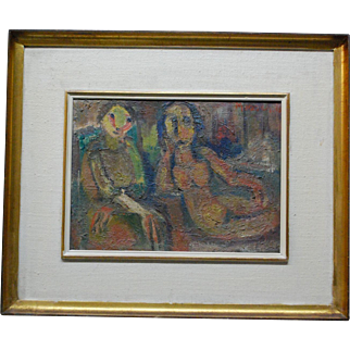 "French Israeli  Expressionist Painting David Messer  1912-1998 "" Two Woman """