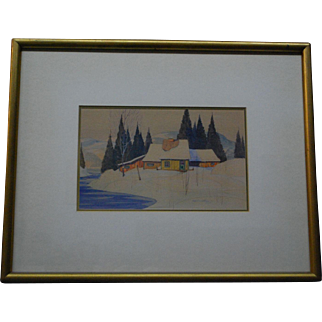 Canadian Norwell Graham Noble 1901-1967 Winter Scene Watercolor