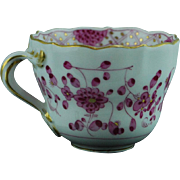Antique Meissen Pink Flower design demitasse cup , blue crossed swords mark