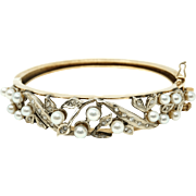 Estate vintage 14 karat yellow / white gold with genuine pearls and diamonds , bracelet