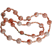 Chinese Angel Skin Pink Coral carved beads necklace
