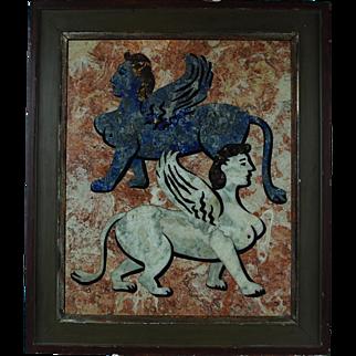 Richard-Blow-Pietra-Dura-Venetian-lions-Montici-signature-Mid-20th-Century